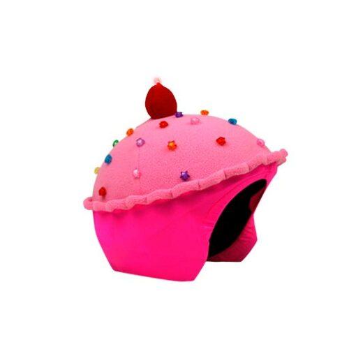 Funda casco Led Cup Cake Fresa lado
