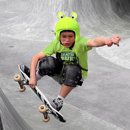 Funda casco de Rana usada en Skate