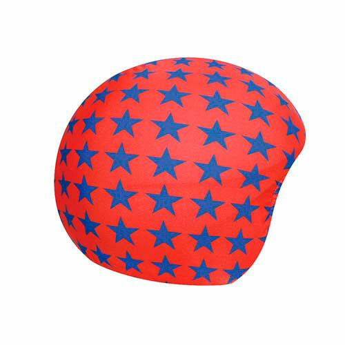 Funda casco Estrellas azul con fondo rojo