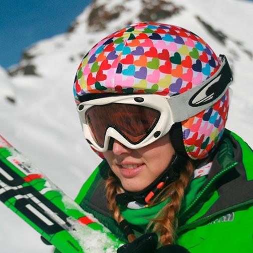 Funda casco Corazones Colores ski