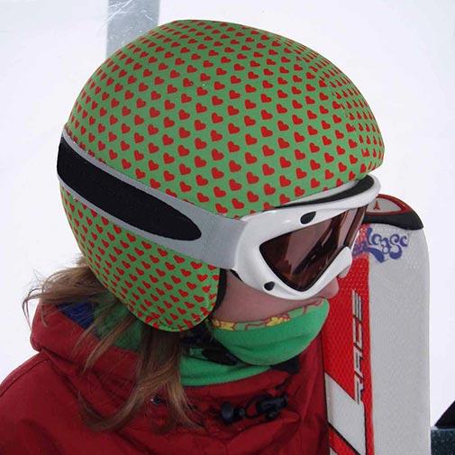 Funda casco Corazones Verde Rojo ski