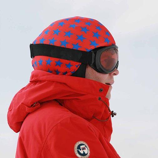 Funda casco Estrellas azules fondo rojo ski