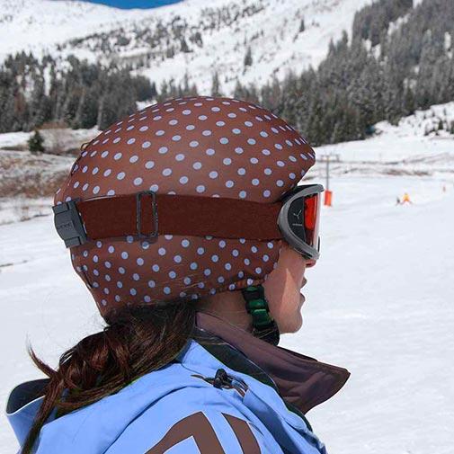 Funda casco Lunares Marrón Azul ski