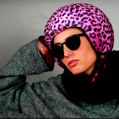 Funda casco pink leopard