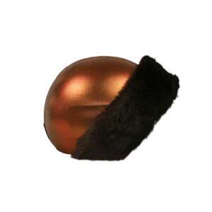 Funda casco bronce Piel Marrón Derecha