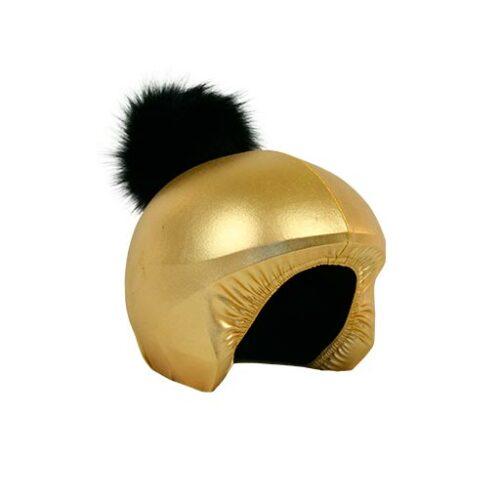 Funda casco Exclusive Dorado Pon-pon negro lado