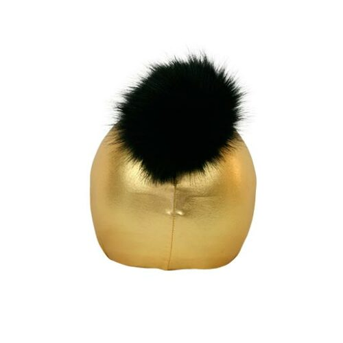 Funda casco Exclusive Dorado Pon-pon negro trasera