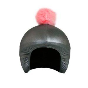 Funda casco Gris Pon-pon rosa F