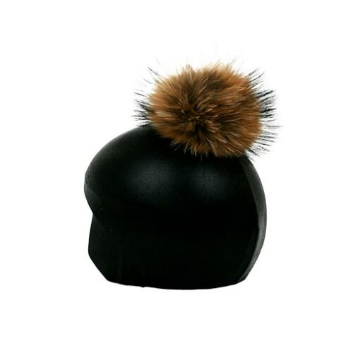 Funda casco Negro Brillo Pon-Pon marrón izquierda