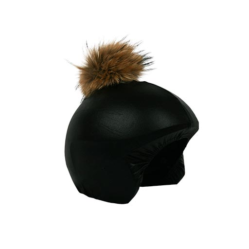 Helmet cover Negro Brillo Pon-Pon marrón lado