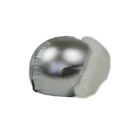 Funda casco Plata Piel Blanca mirada-frontal