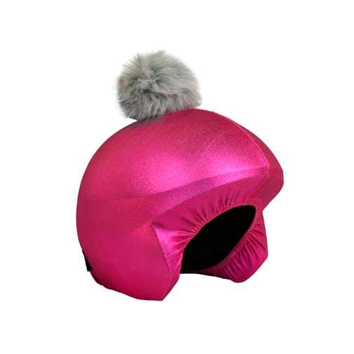 Funda casco rosa pon-pon gris C