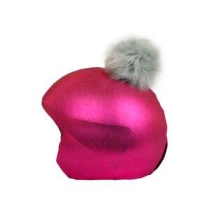 Funda casco rosa pon-pon gris I