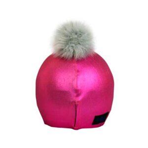 Funda casco rosa pon-pon gris T