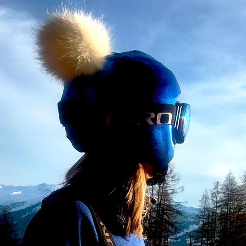 Funda casco Azul Pon-Pon beige 1