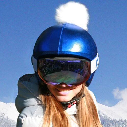 Funda casco Azul Pon-Pon beige P