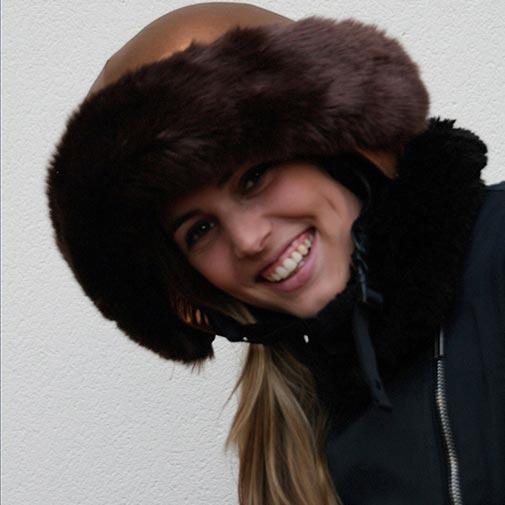 Funda casco bronce Piel Marrón sonrisa