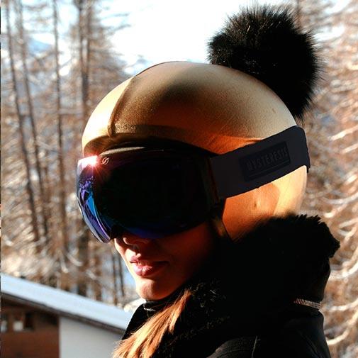 Funda casco dorado pon-pon ski