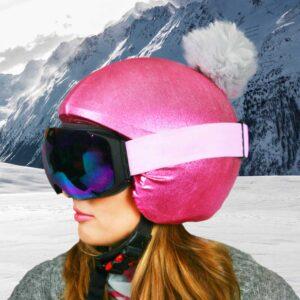 Funda casco rosa pon-pon gris