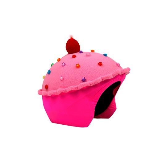 Funda casco Led Cup Cake Fresa lado