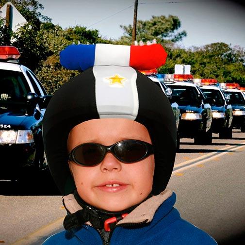 Funda casco Led Policia gafas