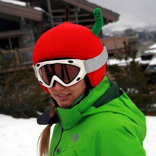 Funda casco Manzana con gusano ski